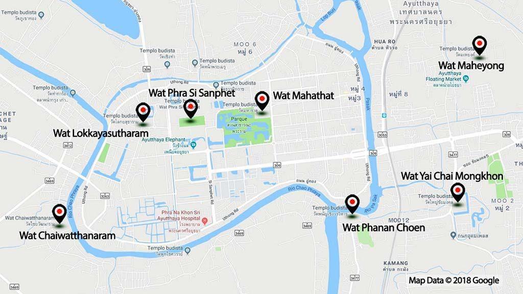 Map of Ayutthaya Historical Park.