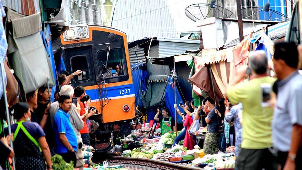 Mae Klong railway market.