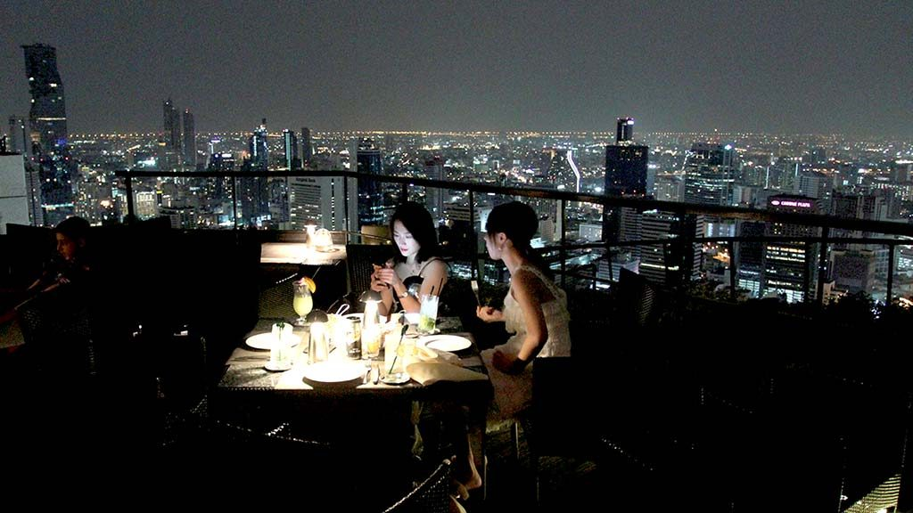 Rooftop restaurant in Bangkok.