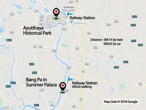 Map of Ayutthaya and Bang Pa-In Sumer Palace.