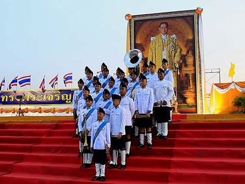 Youth musical band in a tribute to the last king of Thailand.