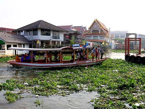 Public transport by boat on the Chao Phraya River in Bangkok.