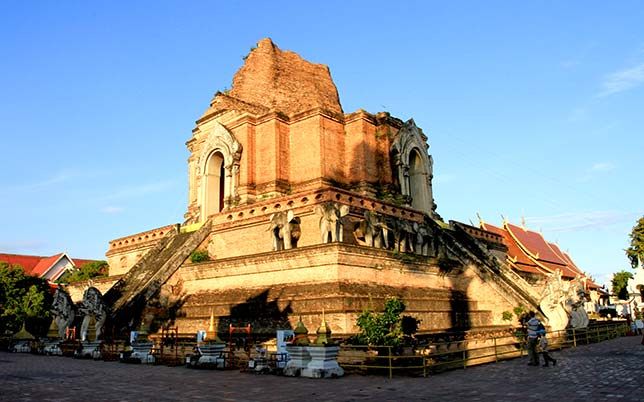Partially collapsed stupa in Wat Chedi Luang, Chiang Mai.