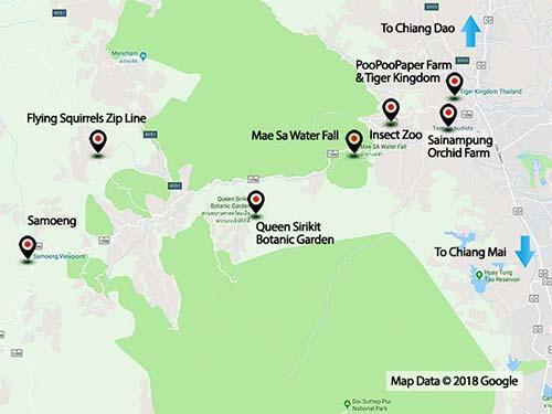Mae Rim Valley map.