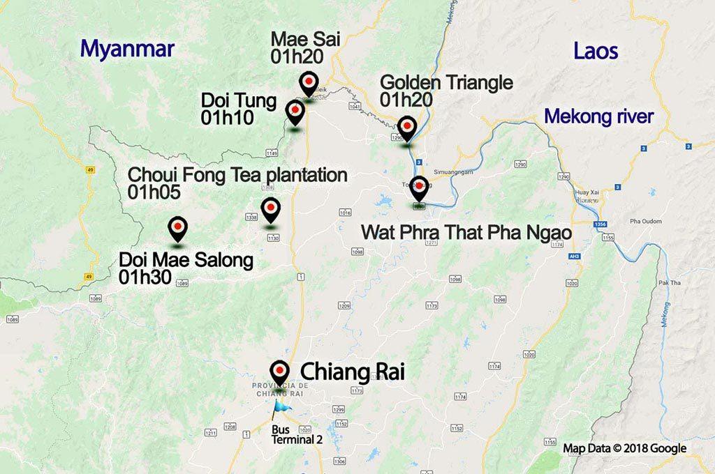 Chiang Rai province map.