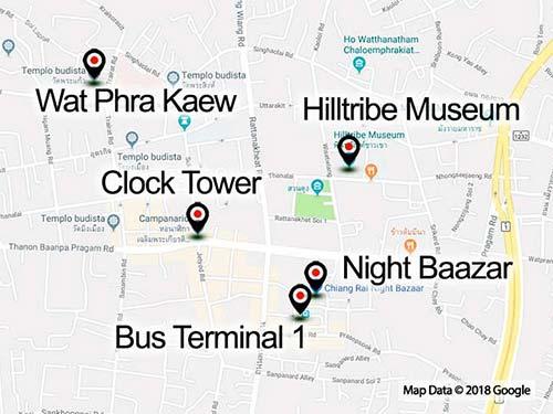 Map of Chiang Rai, downtwon.