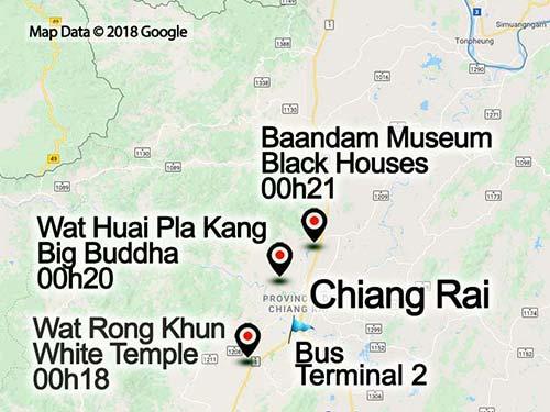 Map of the Chiang Rai, outskirts.