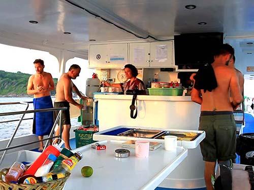 Ship deck, after diving.