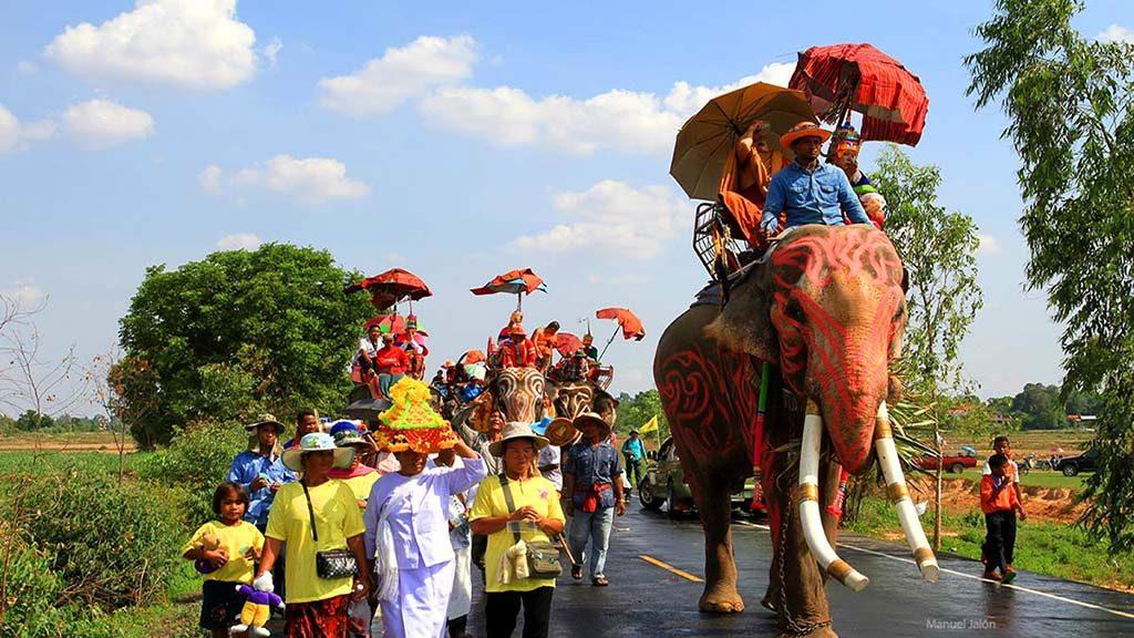 Buddhist novices parading on elephants, Surin.