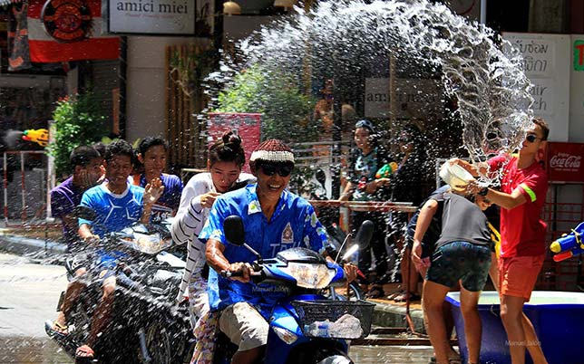 Battles of water are an essential part of the Songkran celebration.