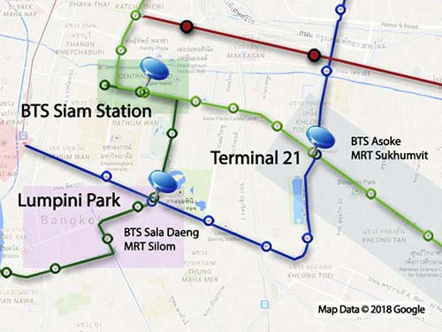 Bangkok downtown map.