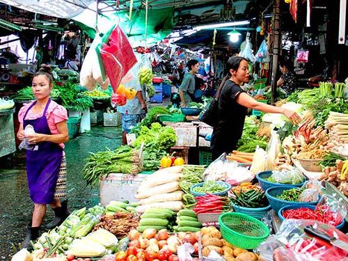 Thewet fresh produce market.