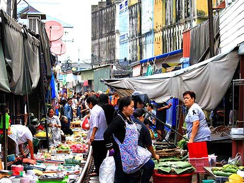 Mae Klong train market.