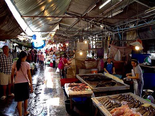 Thewet market fresh produce market.