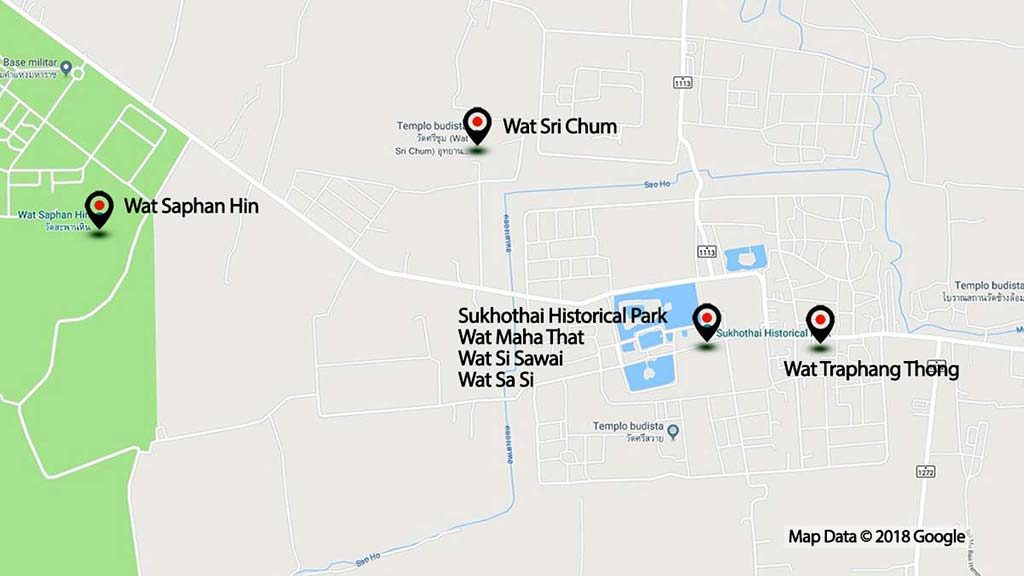 Map of the Sukhothai Historical Park.