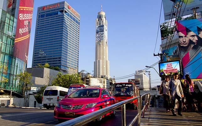 Bangkok downtown street before nightfall.
