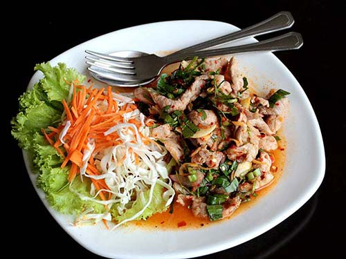 Spicy salad of lemon grass and mint.