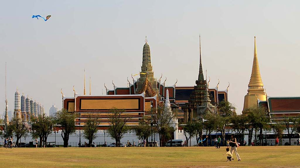 Sanam Luang esplanade and the Grand Palace.