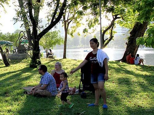 Lumpini Park in Silom district.