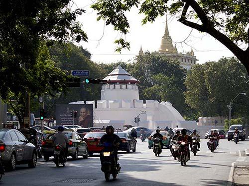 Military fort and Wat Saket, Rattanakosin historic district.