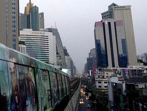 The BTS Skytrain crossing Sukhumvit Street.