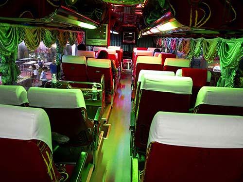 Interior of a VIP bus.