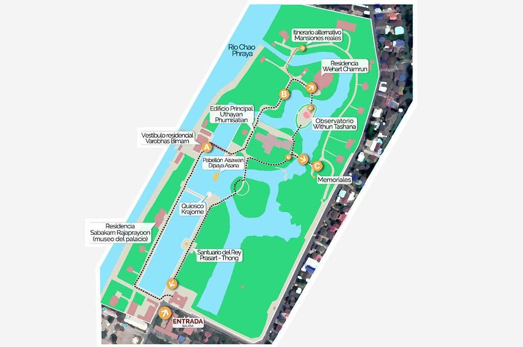 Map of the Bang Pa-In Summer Palace.