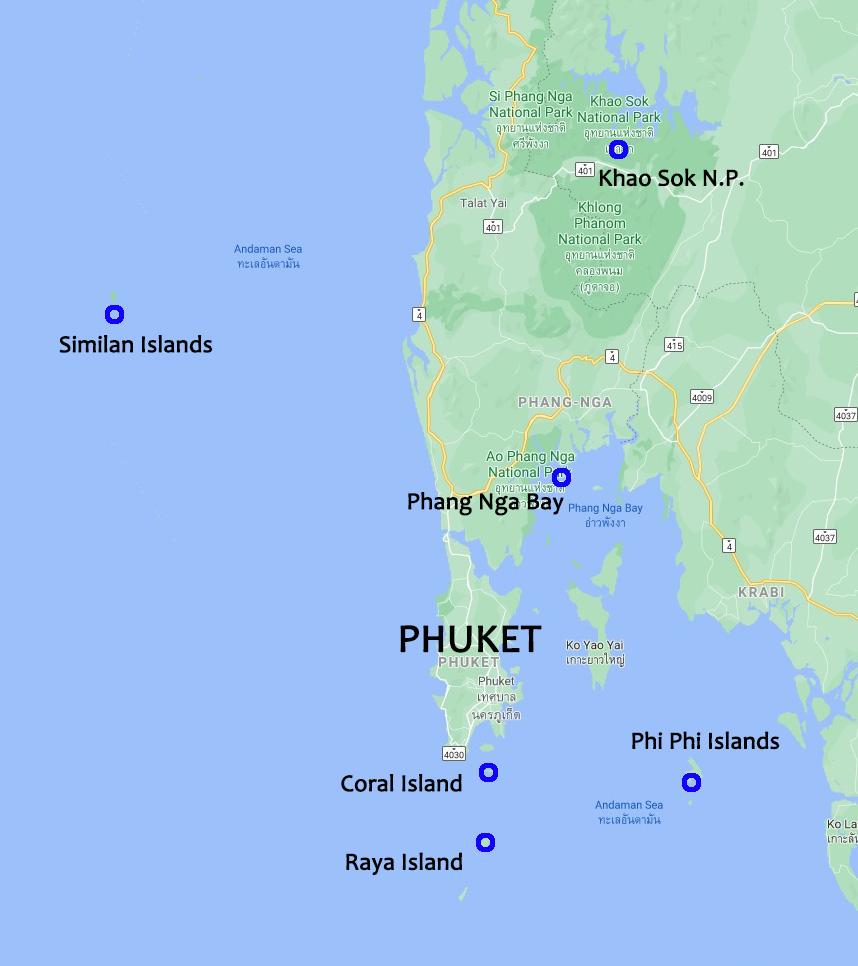 Phuket Escursions Map