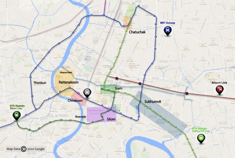 Tourist areas. Note: The division of districts has been simplified to facilitate traveler orientation