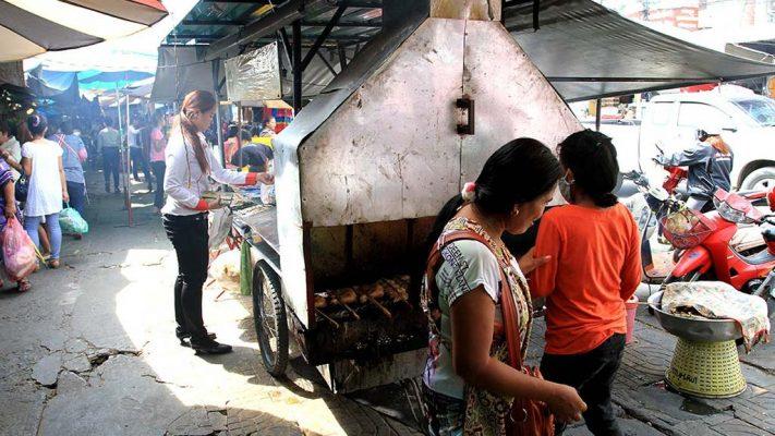 Food stalls in a street market.